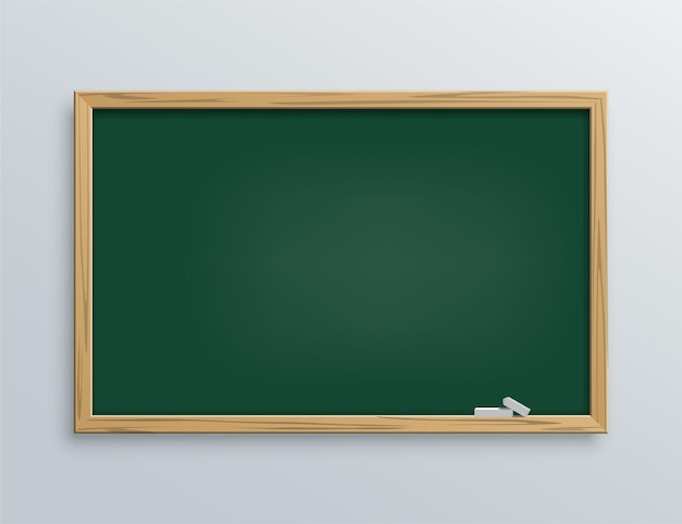 Green blackboard with chalk pieces