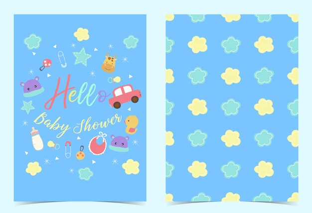 Green blue birthday invitation with pacifier