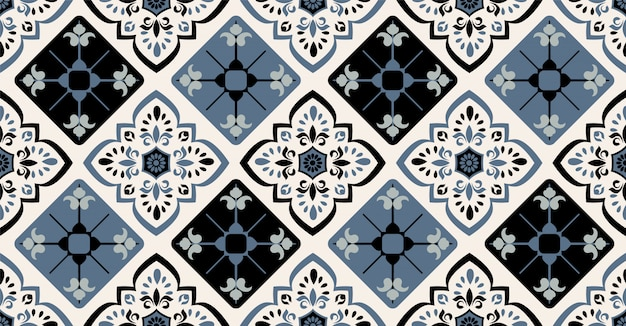 Green blue black geometric seamless pattern in african style with square, tribal shape