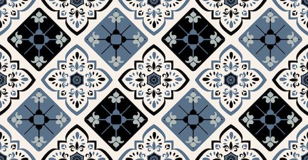 正方形、部族の形をしたアフリカスタイルのグリーンブルーブラック幾何学的シームレスパターン