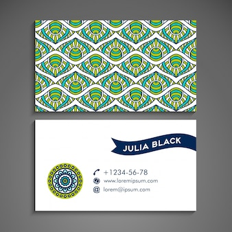 Green and blue business card with mandala concept