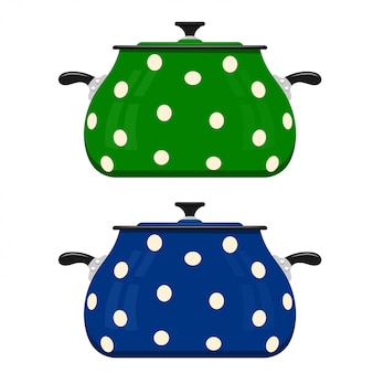 Green and blue cartoon saucepan. kitchen utensils