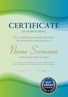 Green and blue certificate template