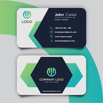 Green and blue gradient hexagon business card