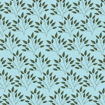 Green and blue leaves, pattern illustration