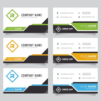 Green, blue, orange and black dark modern creative business card and name card