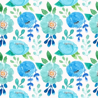 Green and blue pattern with watercolor flower