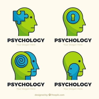 Green and blue psychology logos