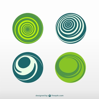 Green and blue round logos Free Vector
