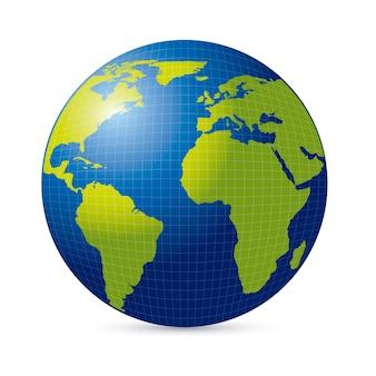 Green and blue world globe