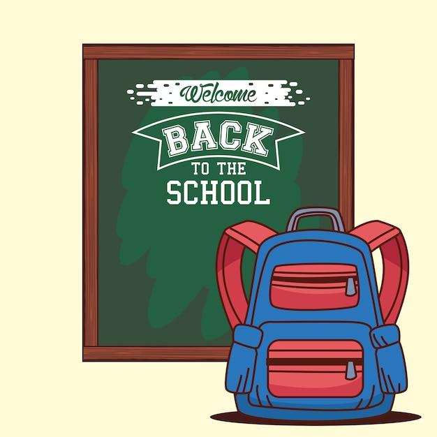 Зеленая доска с дизайном сумки, урок снова в школу и тема урока
