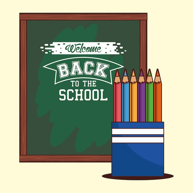 Green board with colored pencils design, back to school eduacation class and lesson theme