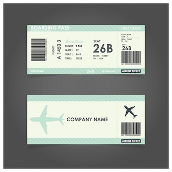 Green boarding pass template