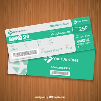 Green boarding pass template