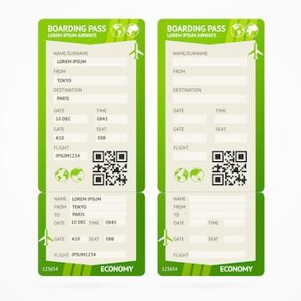 Набор билетов зеленый посадочный талон Premium векторы