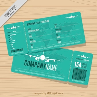 Green boarding pass with white planes
