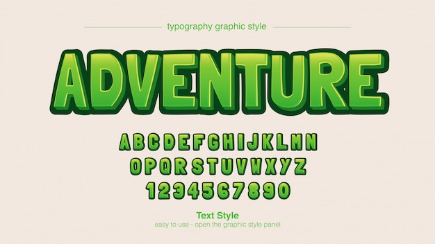 Green bold мультипликационный комикс типография
