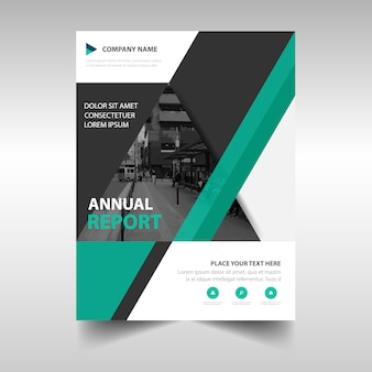 Green book cover template for annual report