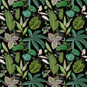 Зеленый ботанический фон с тропическими листьями и ветвями, бесшовные модели, реалистичная упаковочная бумага spathiphyllum cannifolium или текстильная печать, орнамент обоев тропических лесов. векторные иллюстрации