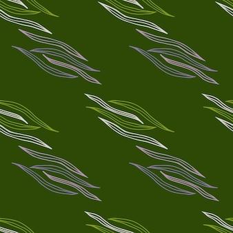 Зеленая ботаническая линия формирует бесшовный фон. природа обои. дизайн для ткани, текстильный принт, упаковка, обложка. векторная иллюстрация.