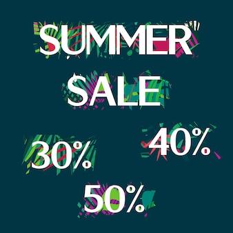 Зеленый ботанический лето тропический продажа флаер с пальмовых листьев и экзотических растений.