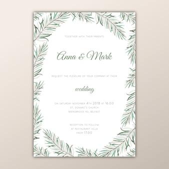Green botanical wedding invitation template