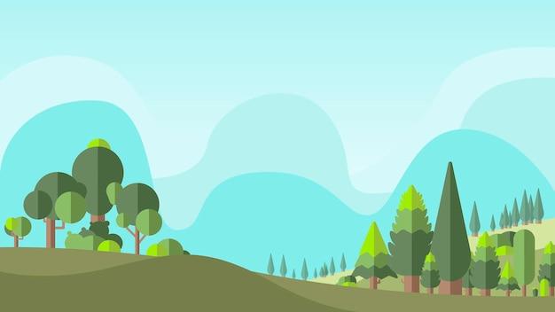녹색 식물학 평평한 숲