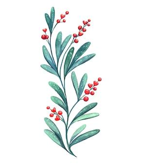 하트 모양의 붉은 열매 장식 녹색 지점