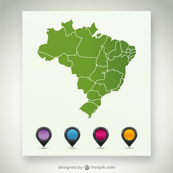 Green brazil map with pin maps in different colors