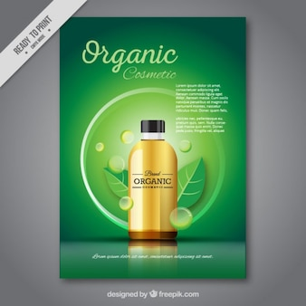 Green brochure of organic cosmetic