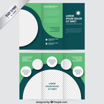 Green brochure with circles