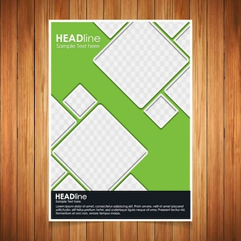 Green brochure with geometric shapes