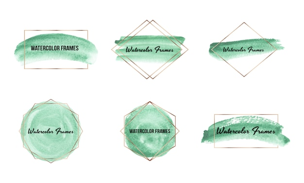 Green brush stroke watercolor texture with gold polygonal frames. geometric shape with hand drawing watercolor washes.