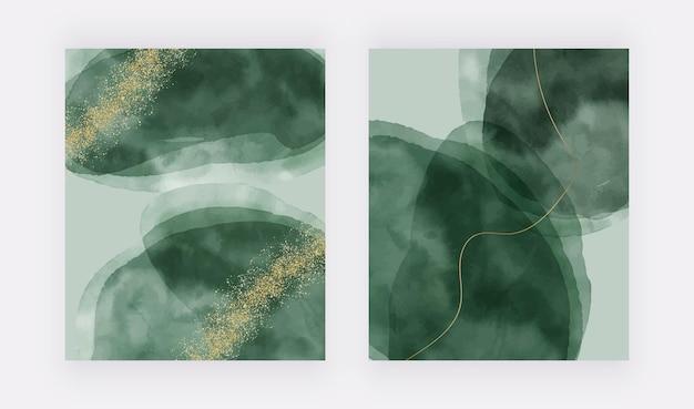 황금 반짝이 라인이 있는 녹색 브러시 스트로크 수채화 텍스처