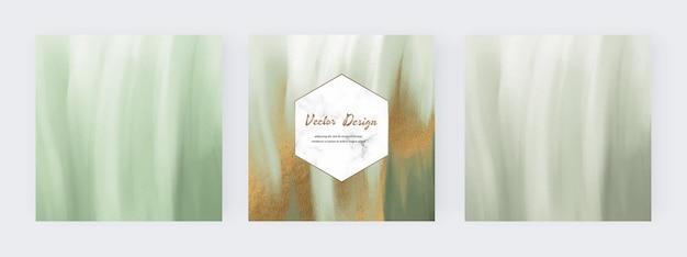 ソーシャルメディアバナー用のゴールドのキラキラテクスチャと緑のブラシストローク水彩
