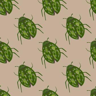 緑の虫はシームレスな野生生物のパターンを飾ります。