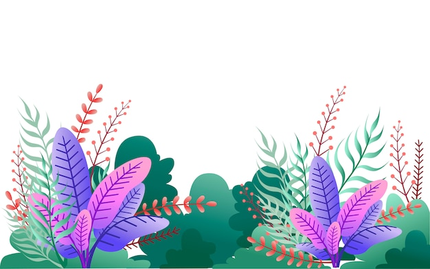 녹색 수풀과 보라색 잎. 꽃 정원 그림입니다. 흰색 배경에