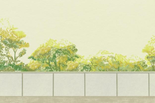Green bushes background color pencil illustration