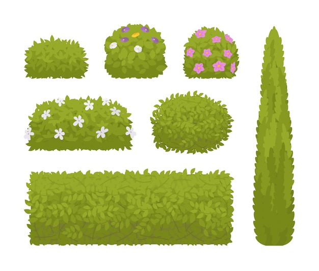 Green bushes set