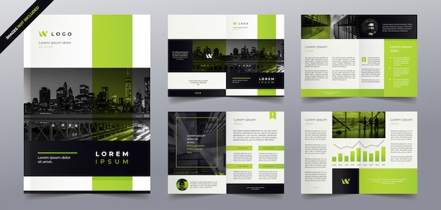 Green business brochure pages template