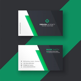 Green business card design in minimal style