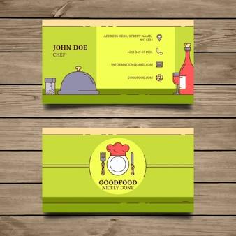 Шаблон визитной карточки зеленый ресторан
