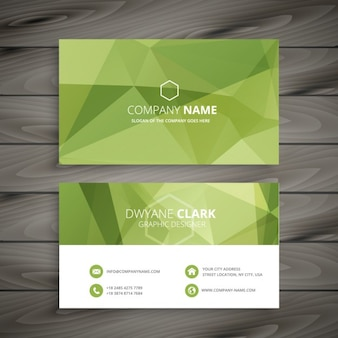 Green business card in low poly style