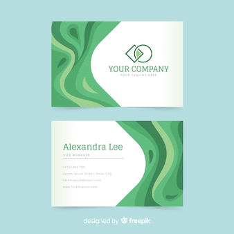 Green business card template with abstract shapes