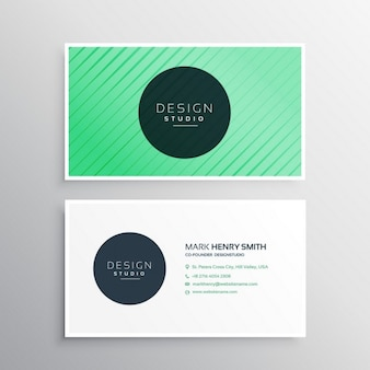 Green business card with ornaments