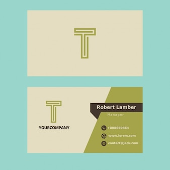 Green business card with t letter