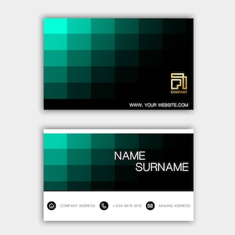 Green business card.