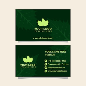 Green business cards ready to print