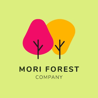 Шаблон логотипа зеленый бизнес, брендинг дизайн вектор, текст mori forest