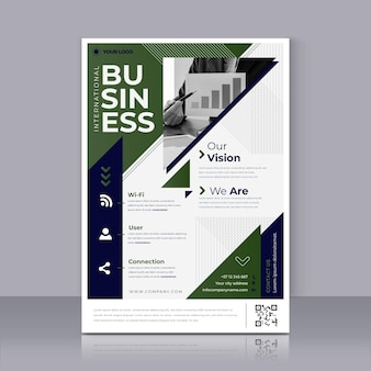 Green business poster print template